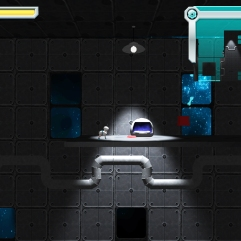 Space Pom Game Prototype; scene with the Pomeranian moving across a large section of ship basement.