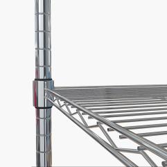 Storage rack detail of adjustable brackets.